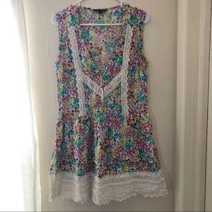 Victoria's Secret Floral & Lace Drop-Waist Dress